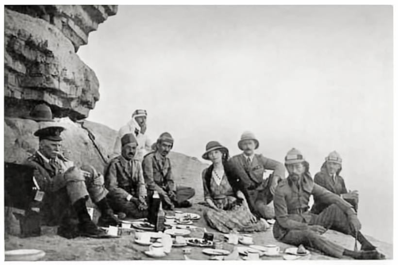 ?A Picnic with King Faisal? photograph of Gertrude Bell (1868-1926), Traveller, spy and archaeologist on a picnic in Saudi Arabia in 1922.
